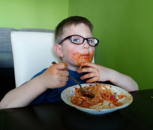 Pawel and his favourite spaghetti